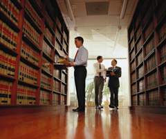 Lawyer Researching Information in a Law Library