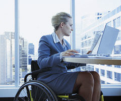 Young disabled woman at work